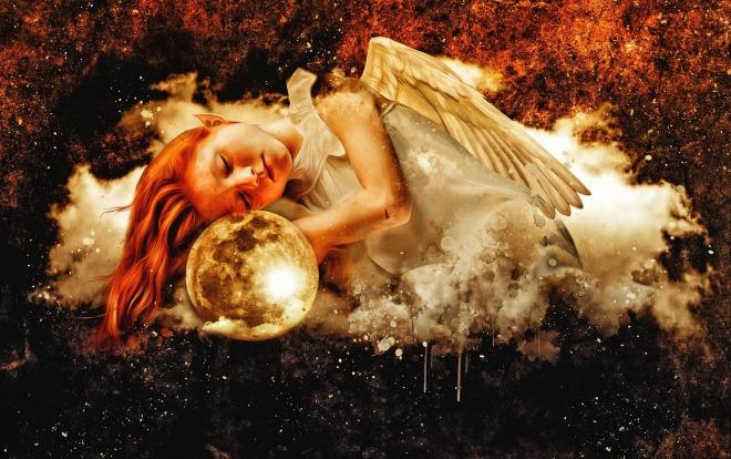 aangel girl young dark moon cloud