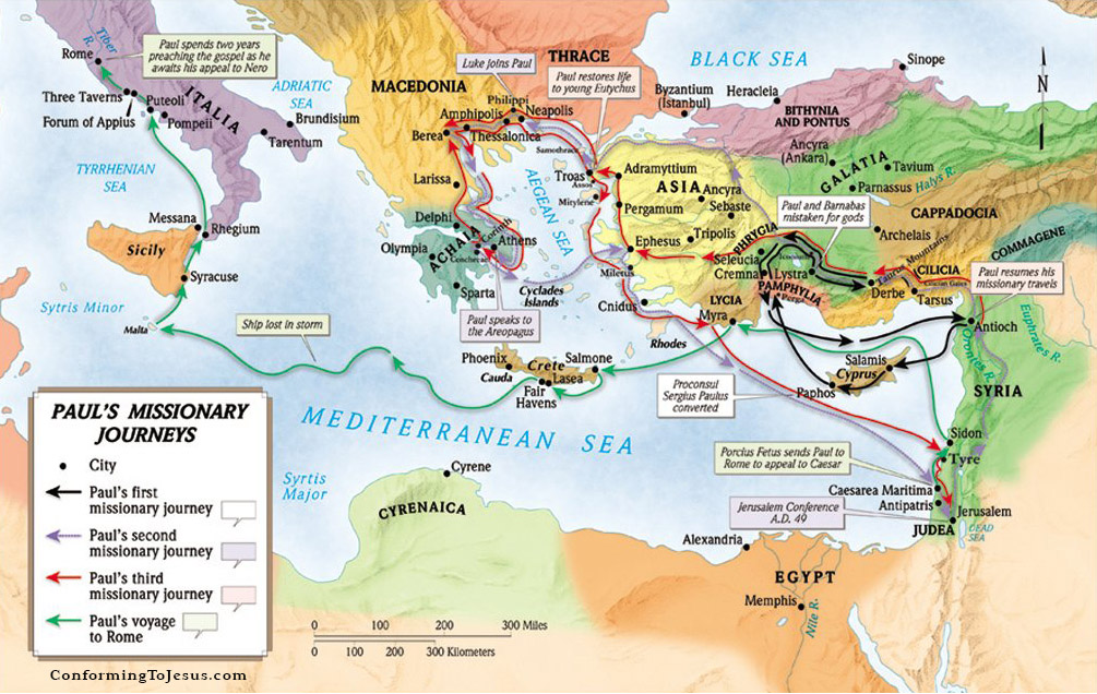 map of the journeys of the apostle Paul