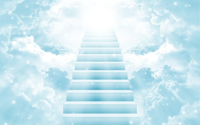 stairs ascend into clouds