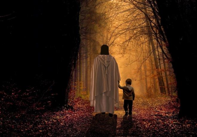 Jesus child walk away in forest