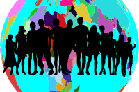 silhouette of people on globe