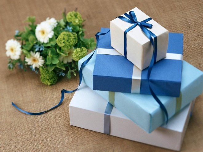 wrapped packages and flowers