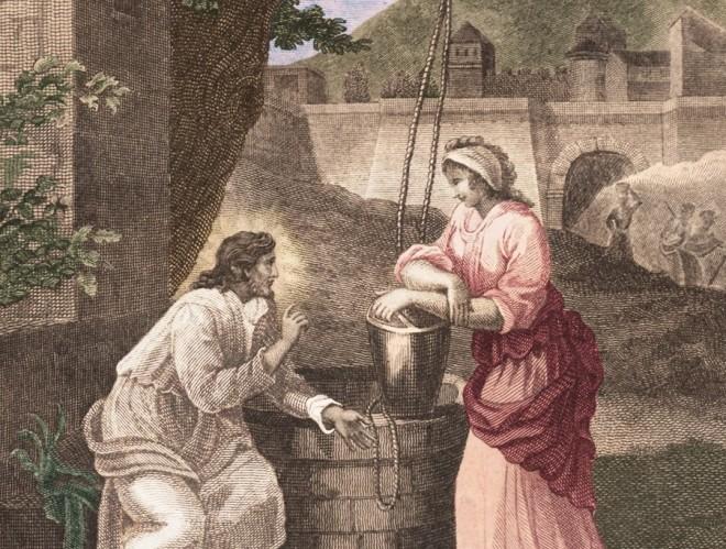 sketch of Jesus and Samaritan woman at well