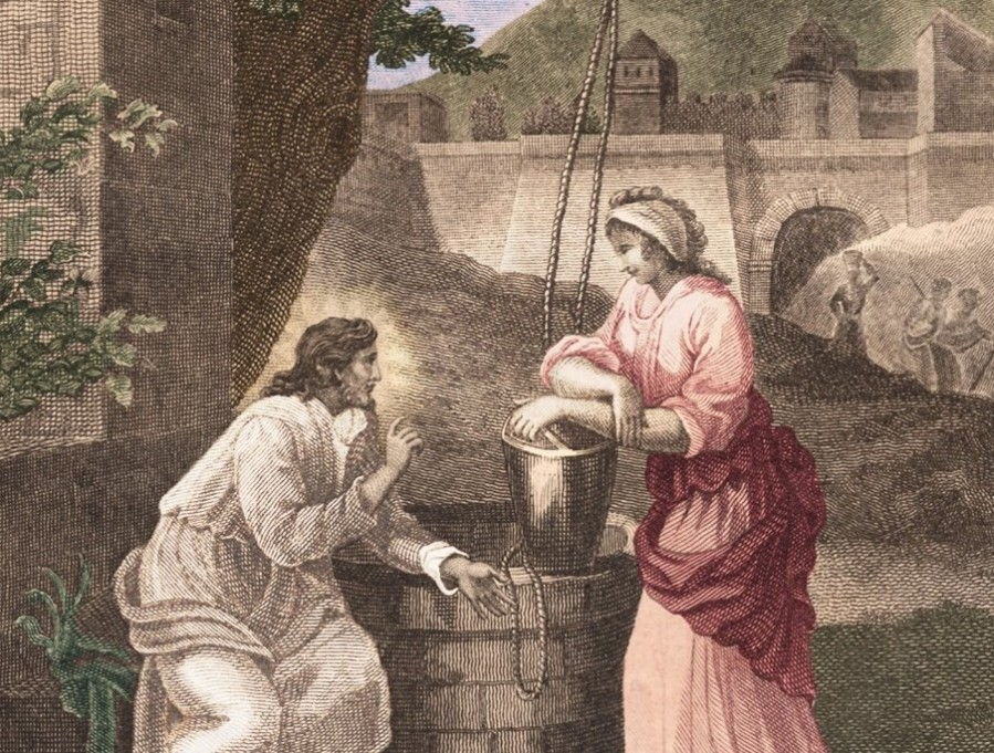 sketch of Jesus and woman at well