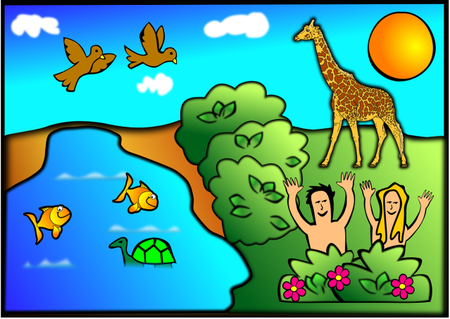 childlike drawing of Garden of Eden