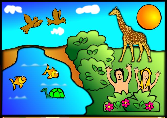 childlike drawing of Garden of Eden