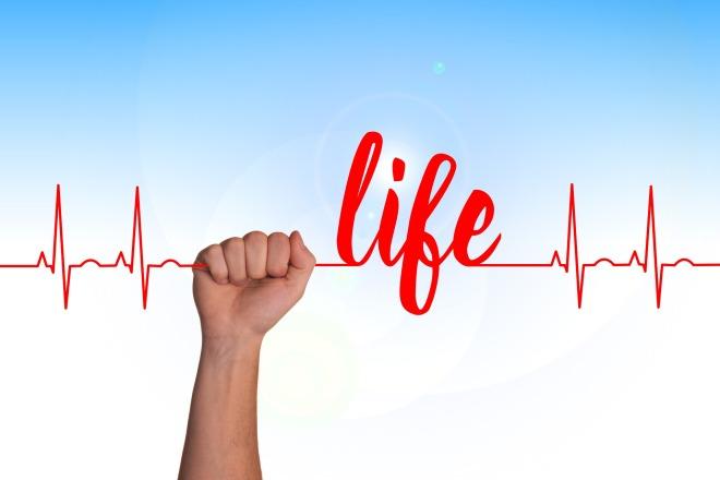 EKG line fist 'life'