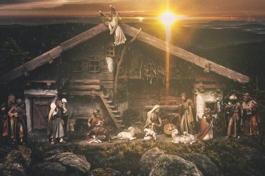 birth of Christ nativity with wise men & shepherds
