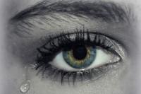 womans eye with tear