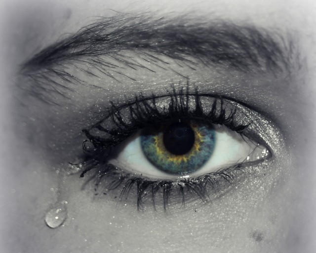 womans eye with tear