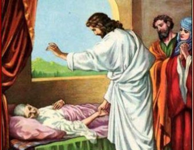 Jesus healing bed ridden woman with observers
