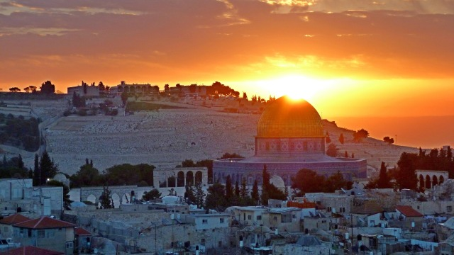 Jerusalem landscape at sunrise