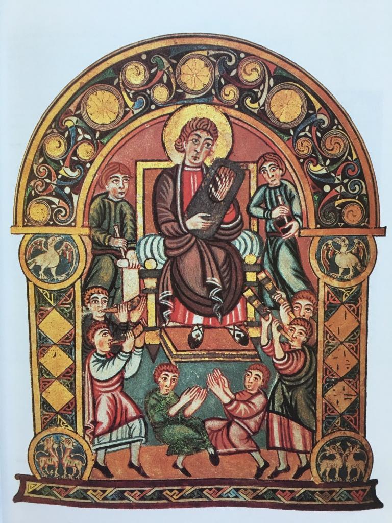 mosaic of kind david playing harp