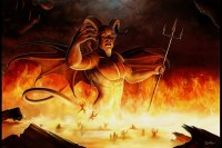 devil w/ little people below in fire