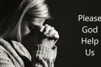 blond girl in sweater prays