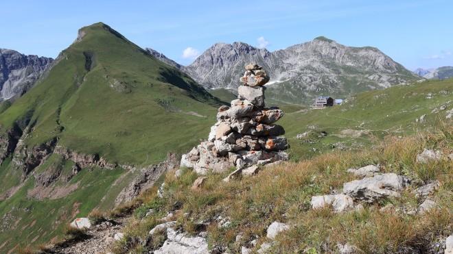 rocky mountain area & pile of stones