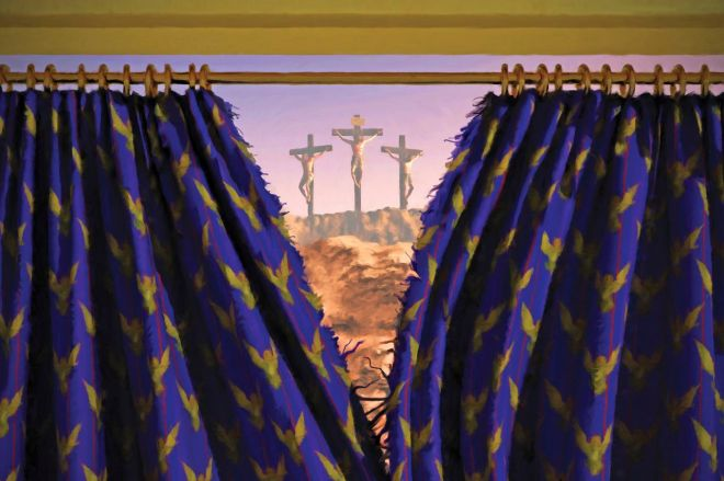 crosses of Jesus crucifixion beyond torn temple curtain